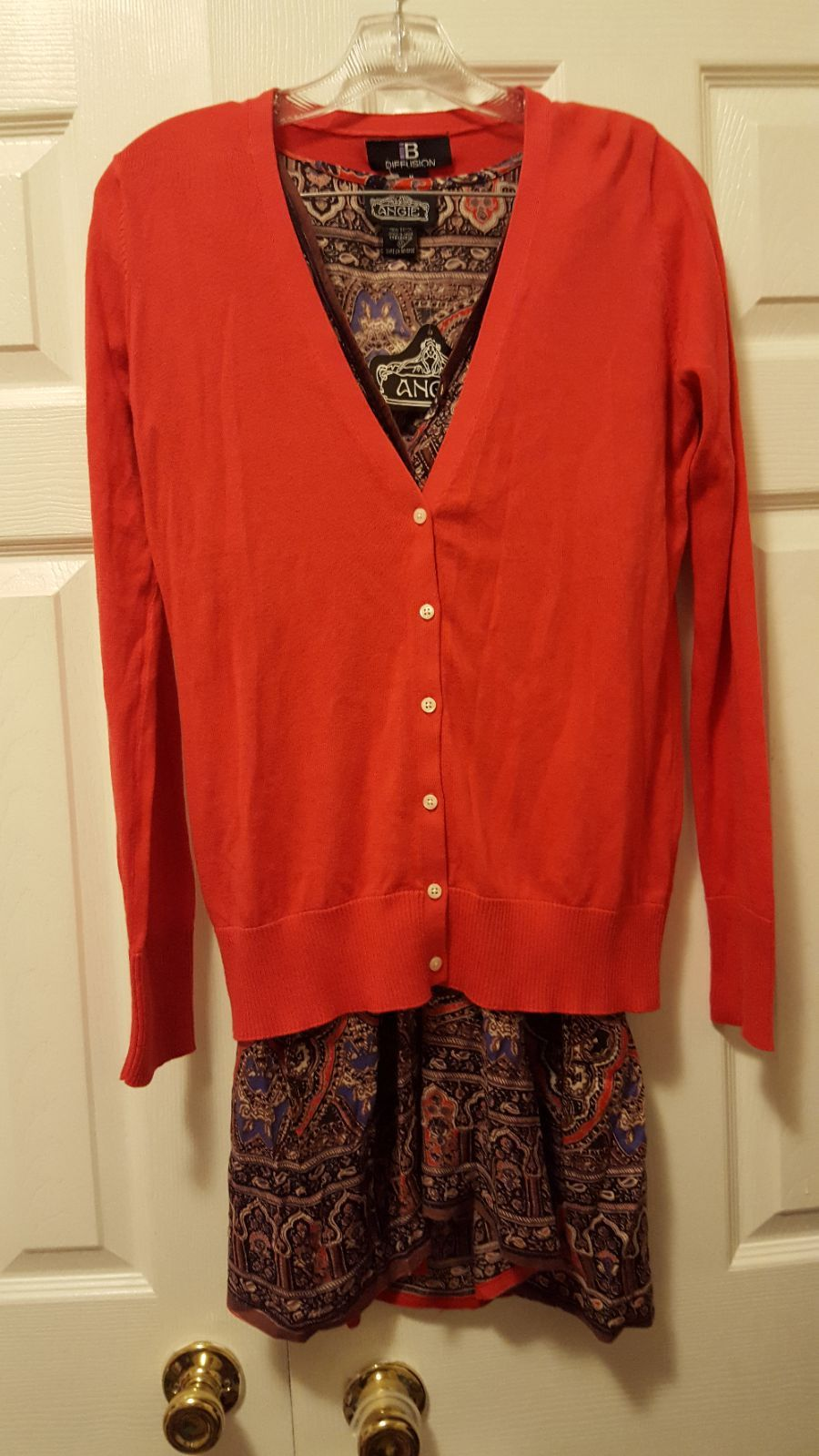 NWT M I.B Diffusion Red Orange Cardigan - Mercari: BUY & SELL ...