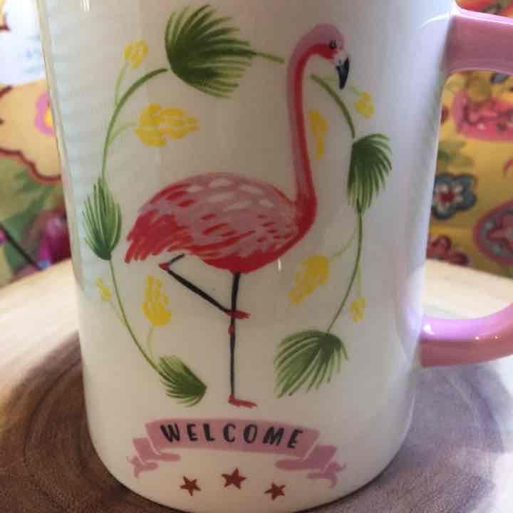 Pink Flamingo Welcome Mug