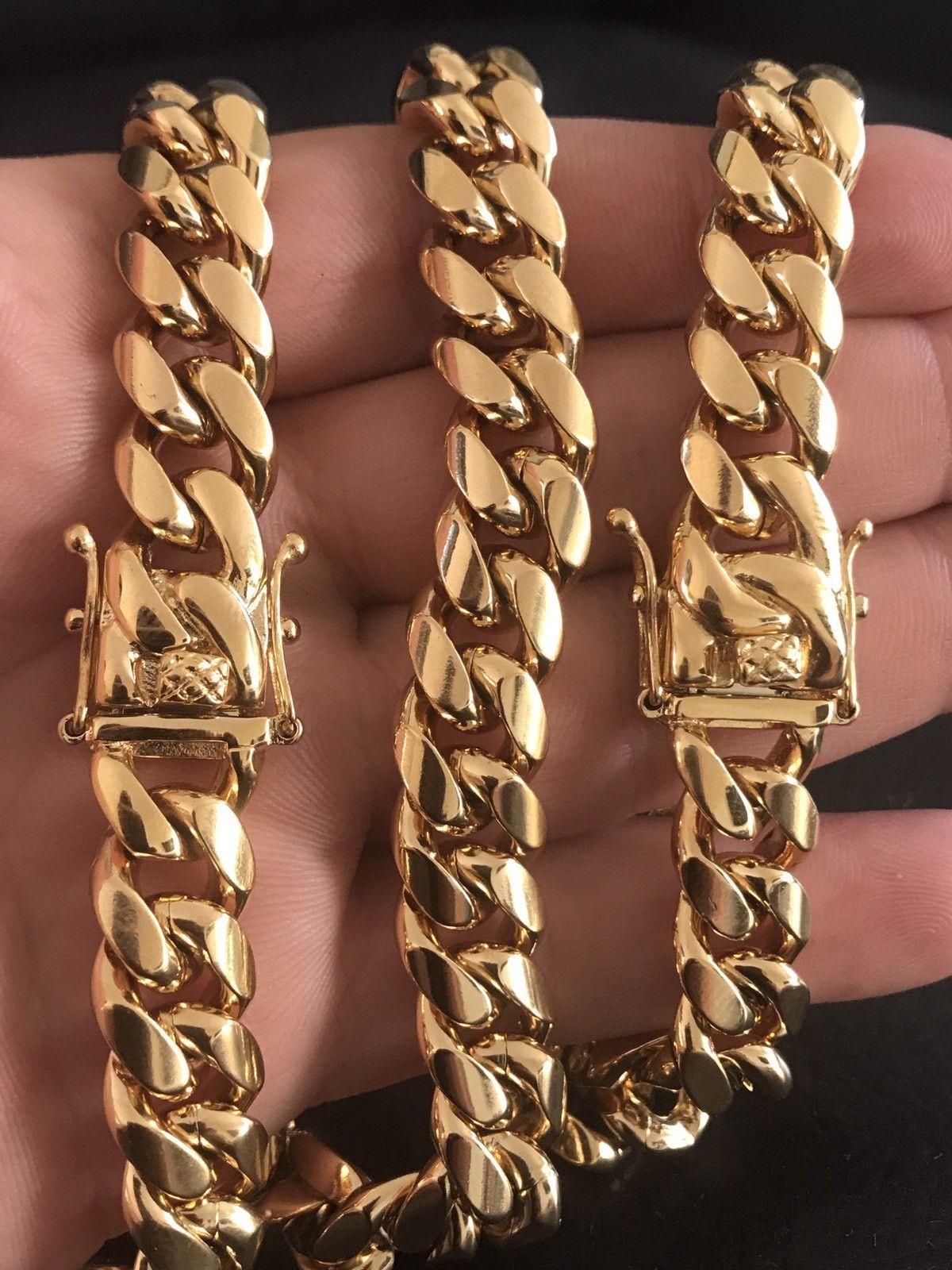 Mens Cuban 18k Gold Bracelet & Chain SET