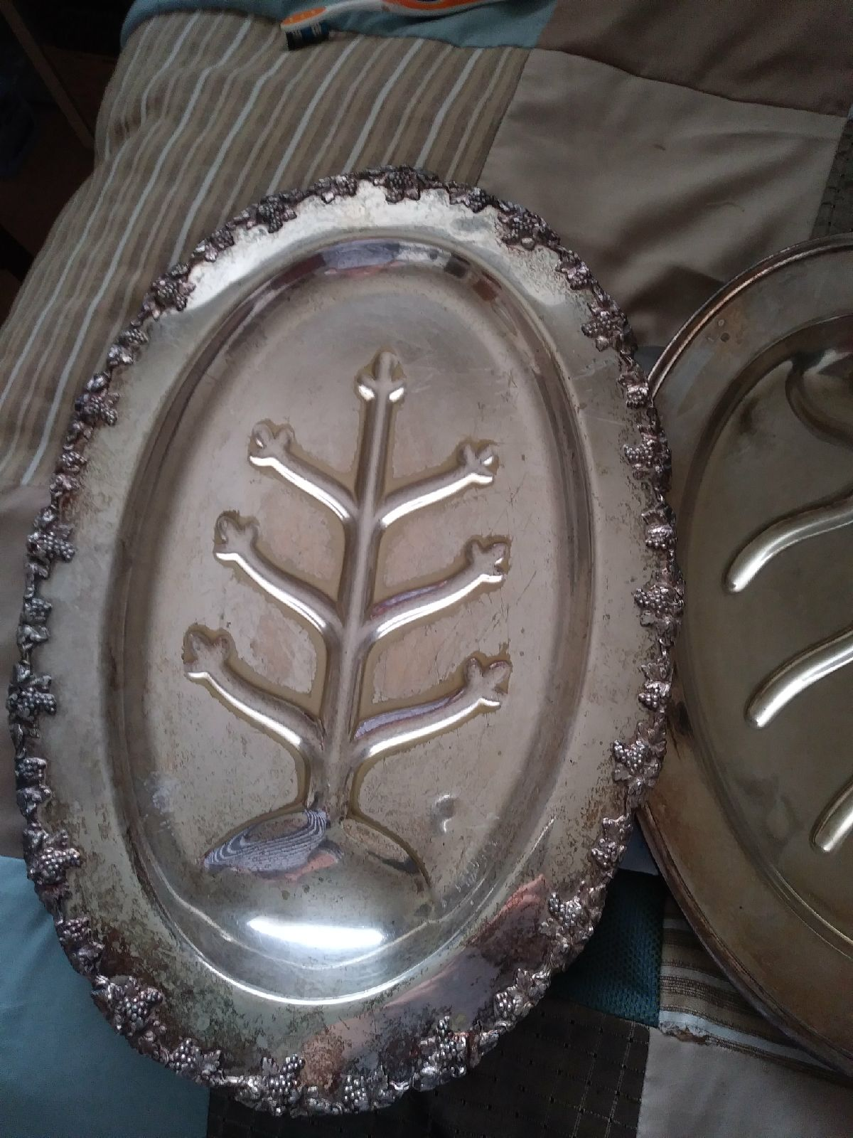 "Nickel Silver 18"" & 16"" serving trays"