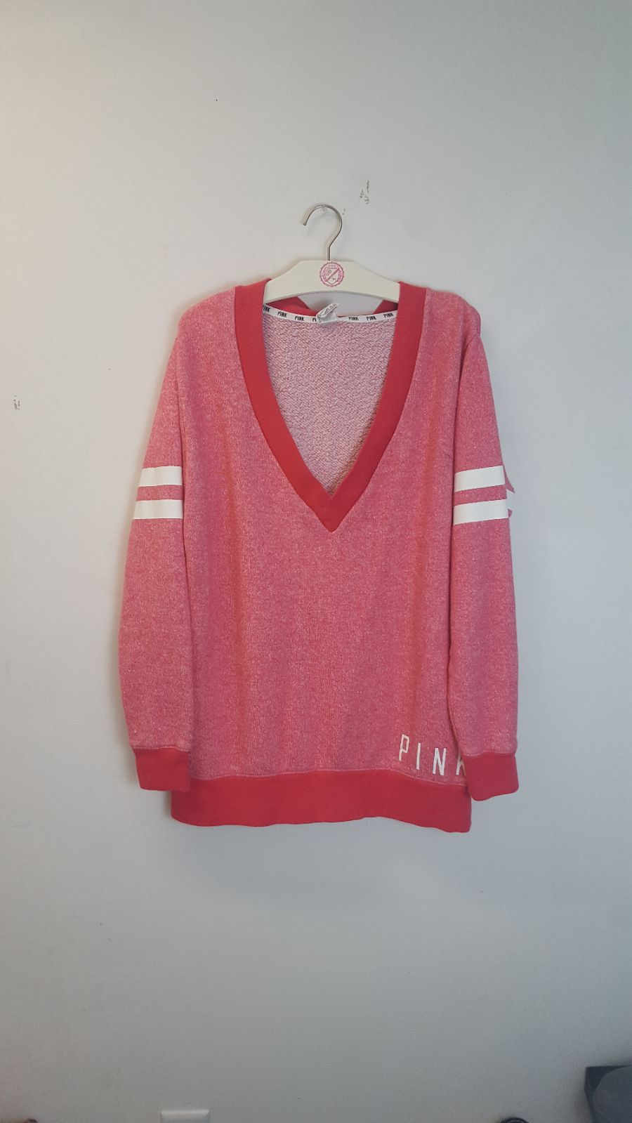 VS PINK M V Neck Pastel Red Sweater - Mercari: BUY & SELL THINGS ...
