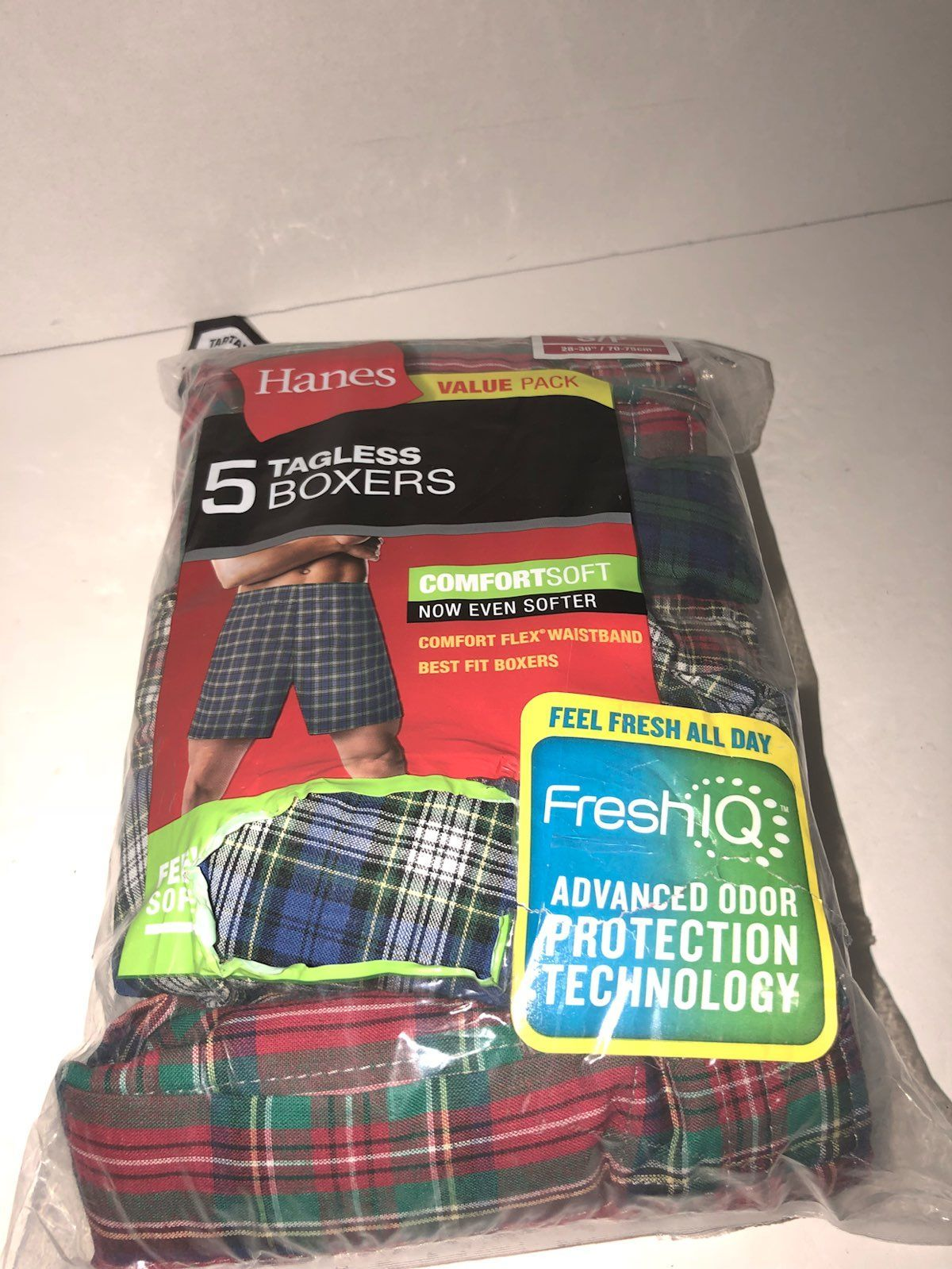 Men Small Plaid Boxers By Hanes