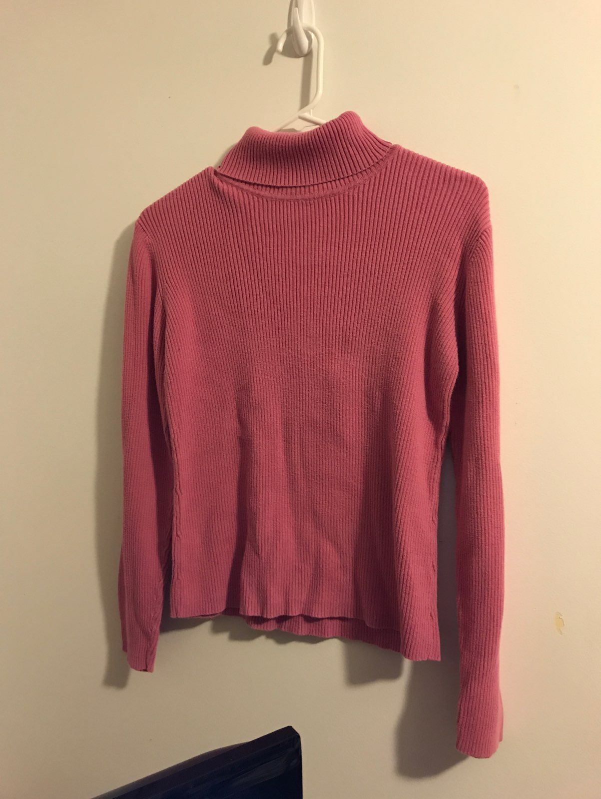 Pink Ribbed Turtleneck Sweater - Medium - Mercari: BUY & SELL ...