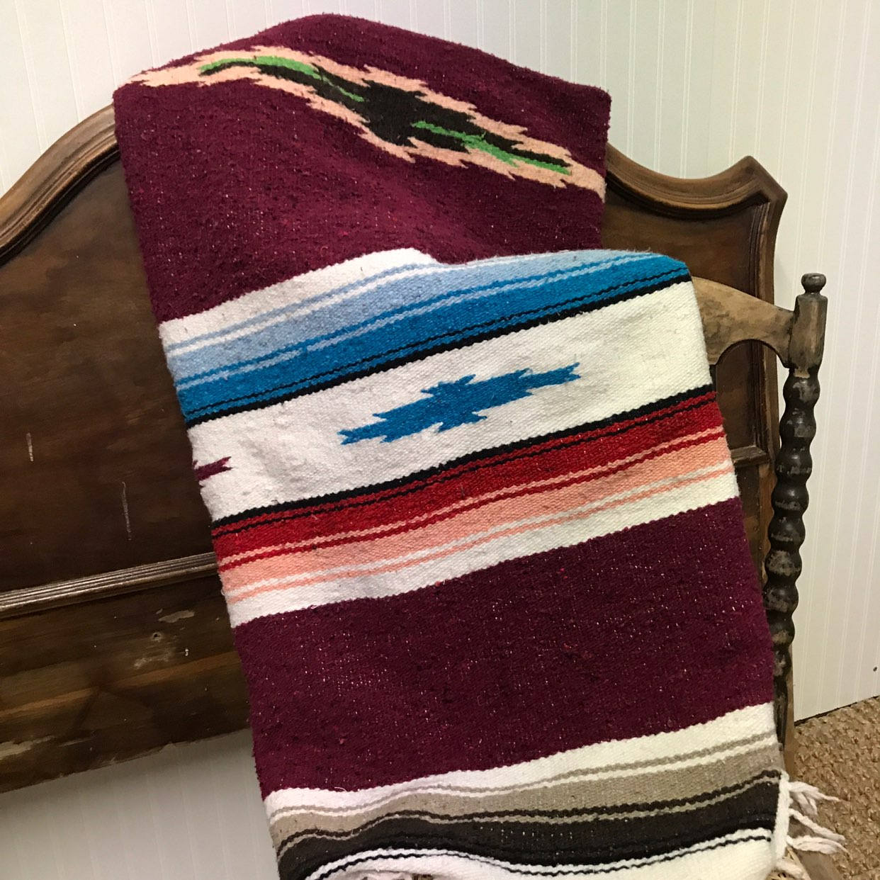 Vtg Mexican Throw Blanket