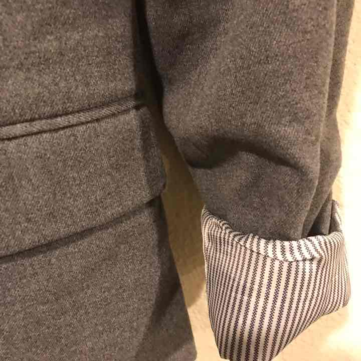 Gray and black lined blazer jacket
