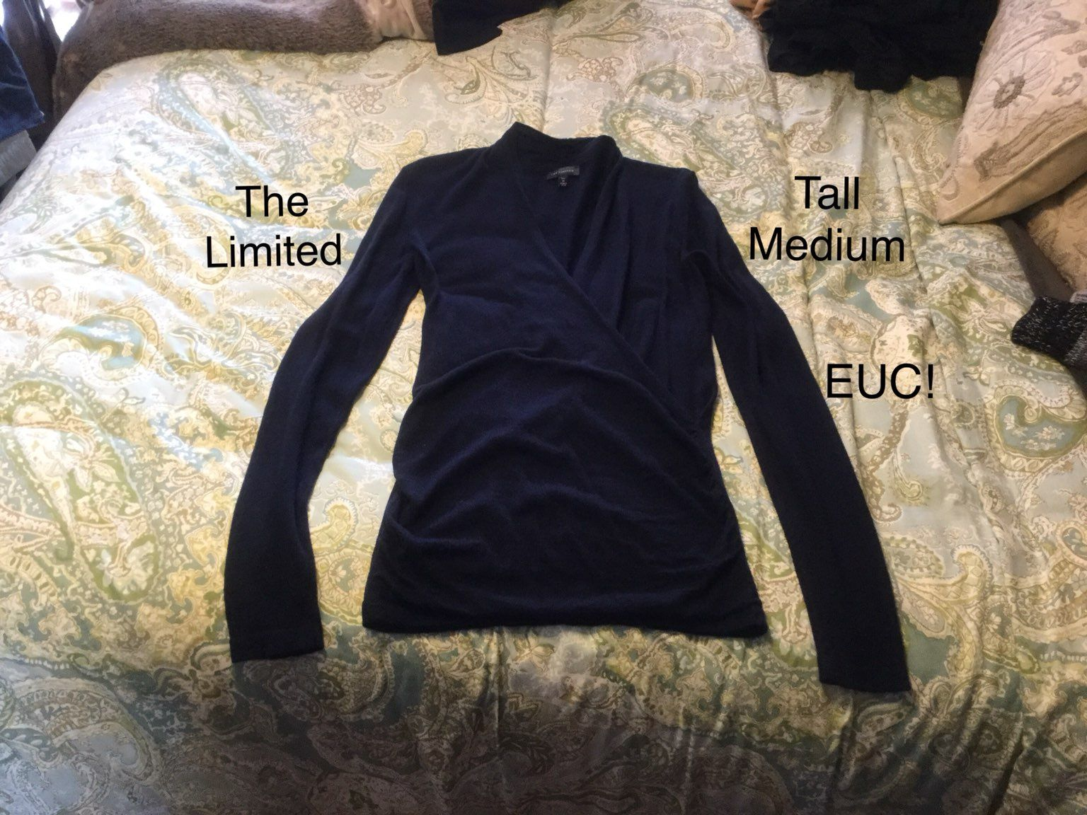 The Limited Navy Faux Wrap Sweater M - Mercari: BUY & SELL THINGS ...