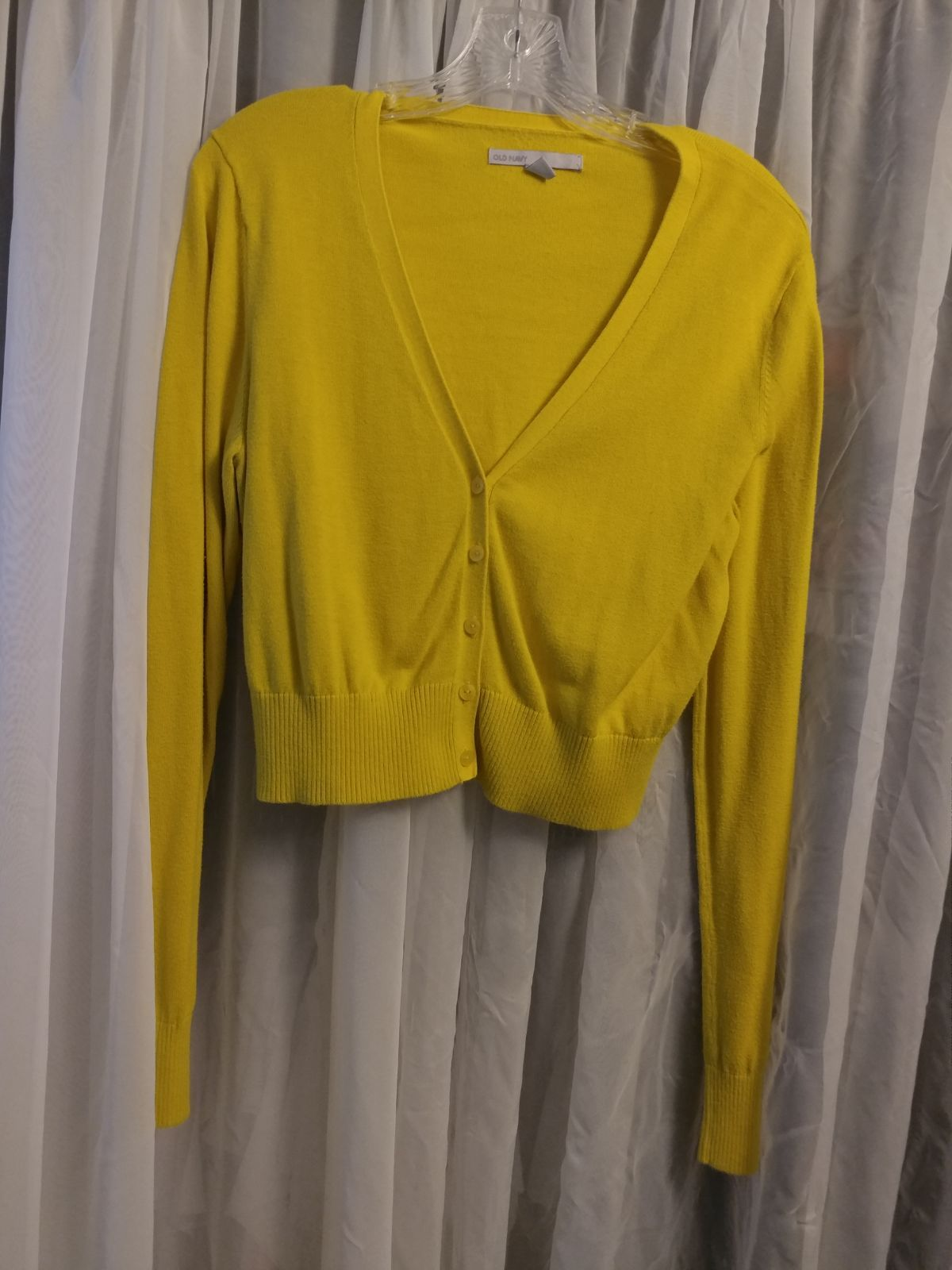⭐Yellow Cropped Cardigan Sweater-Large⭐ - Mercari: BUY & SELL ...