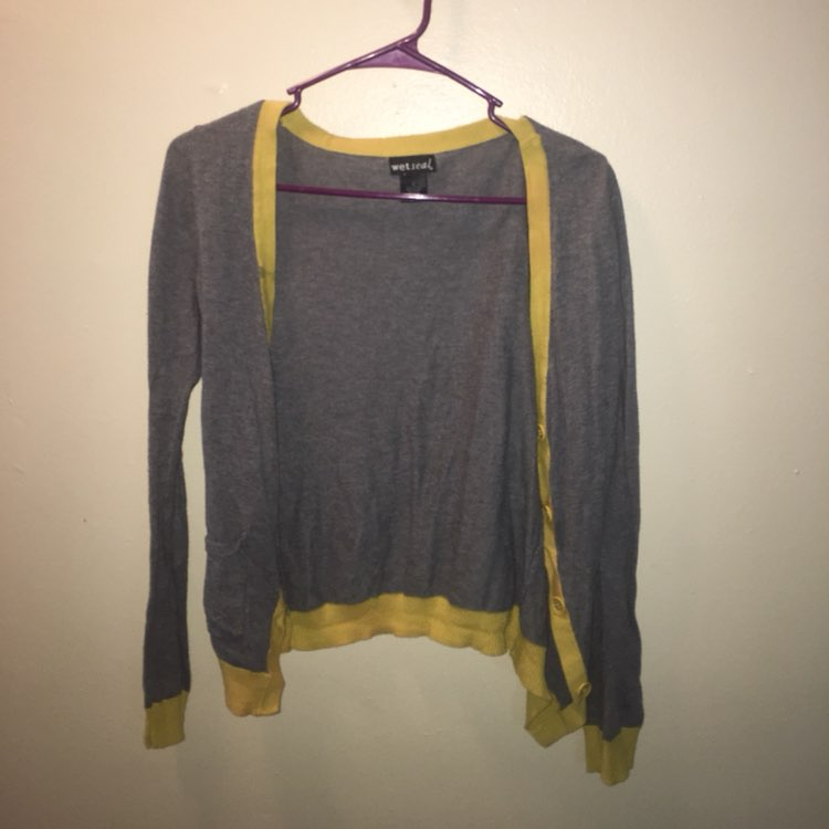 Grey And Yellow Cardigan - Mercari: BUY & SELL THINGS YOU LOVE