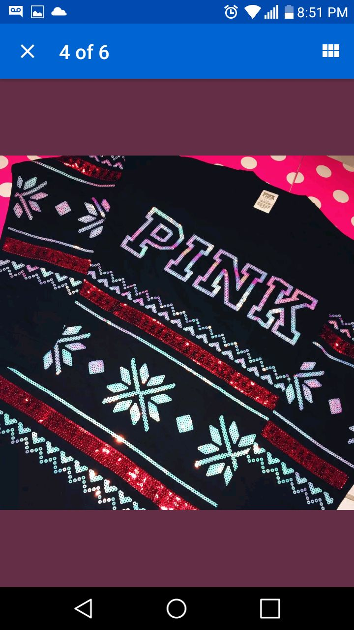 PINK Holiday Bling Campus VS Sweater - Mercari: BUY & SELL THINGS ...