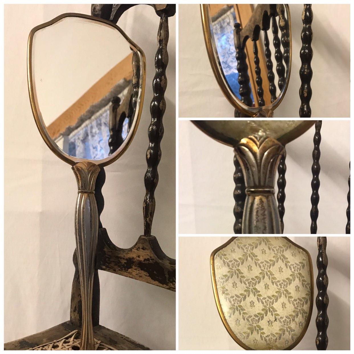 Vtg Hand Mirror Brass & Floral