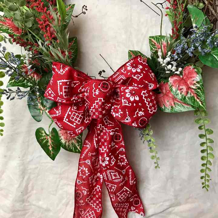 Patriotic bandana ribbon July 4th Wreath
