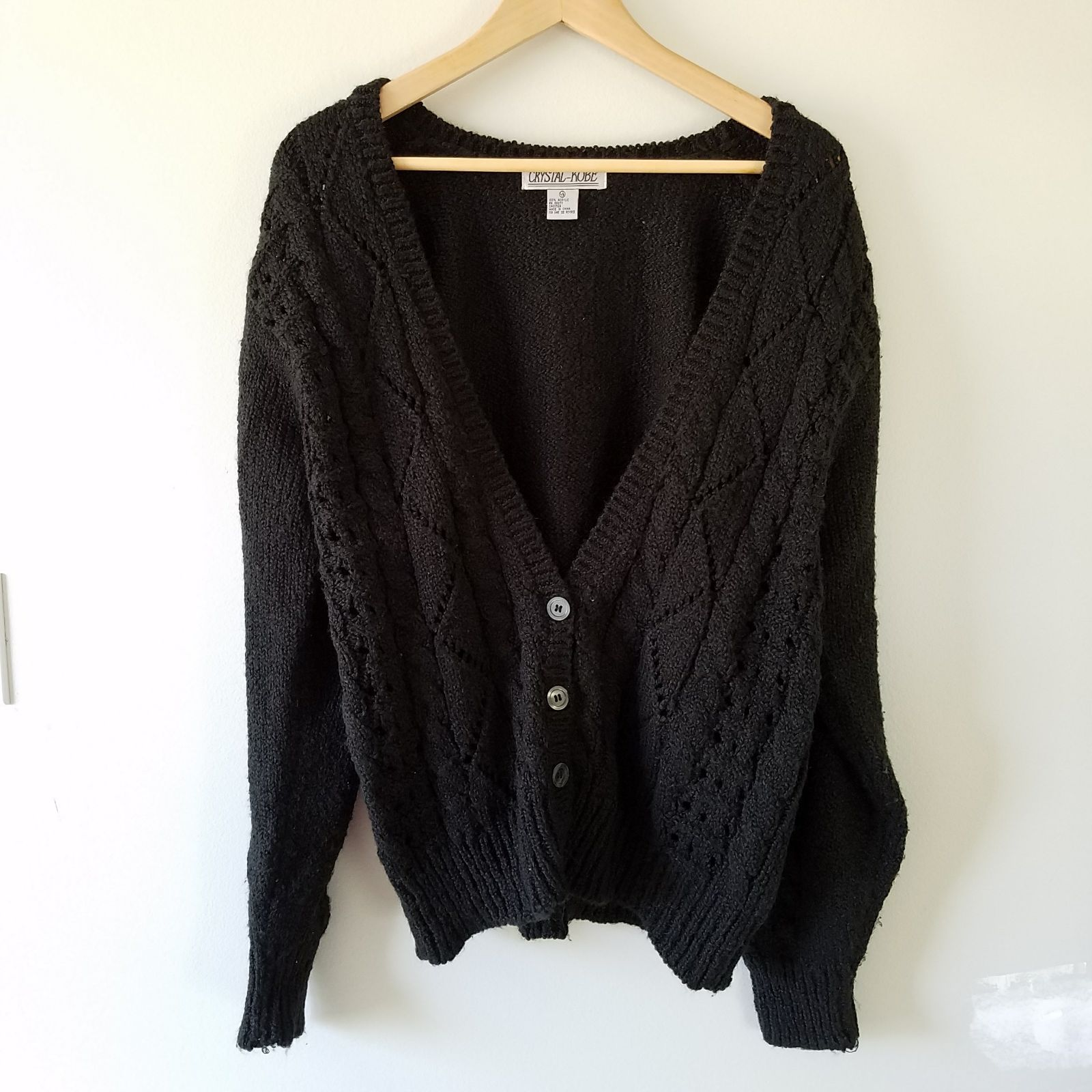 Black chunky cardigan sweater - Mercari: BUY & SELL THINGS YOU LOVE
