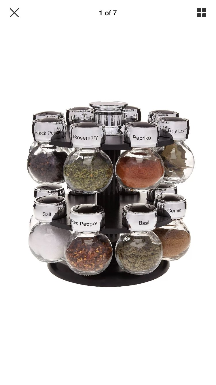 New Spinning Spice Rack w/ 16 Glass Jars