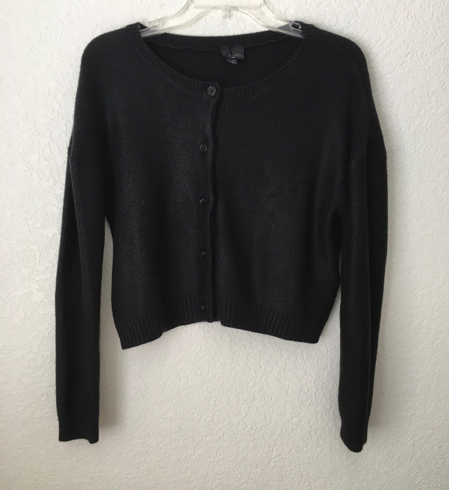 H&M Cropped Knitted Black Cardigan - Mercari: BUY & SELL THINGS ...