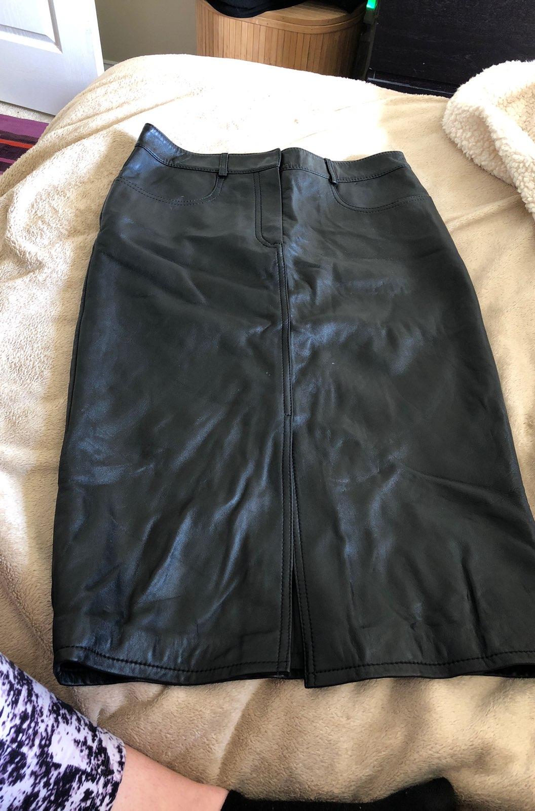 DKNY Black Leather Knee Length Skirt