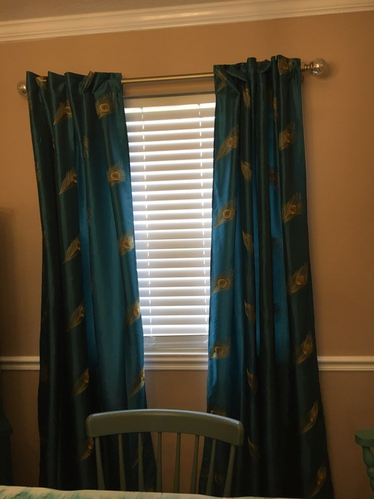 Pier One Blue Peacock Feather Curtains