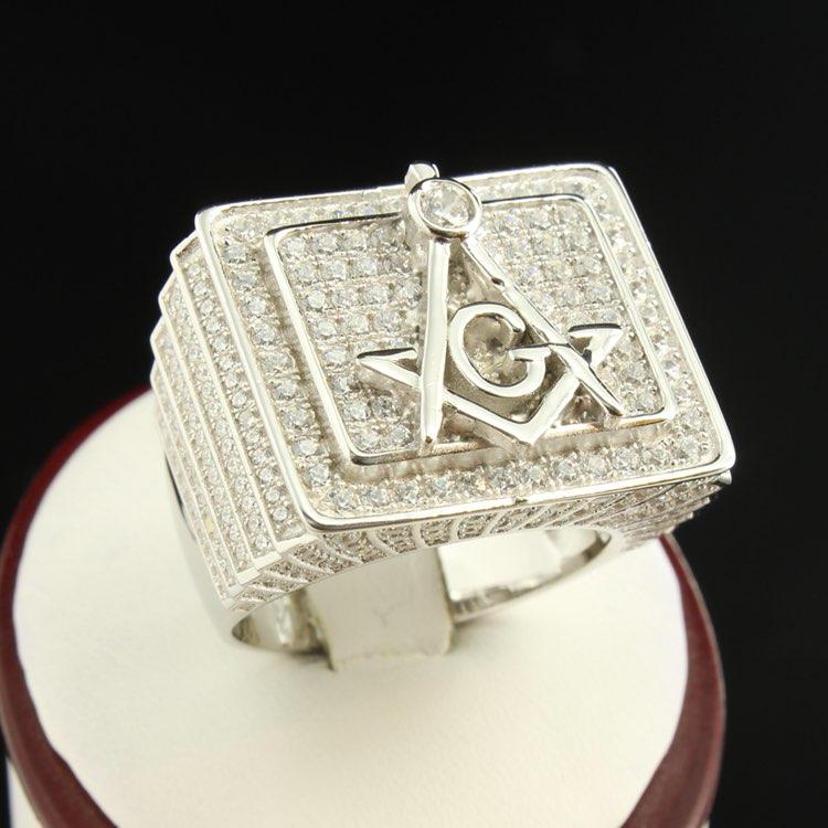 14k Gold Icedout Masonic G Custom Ring