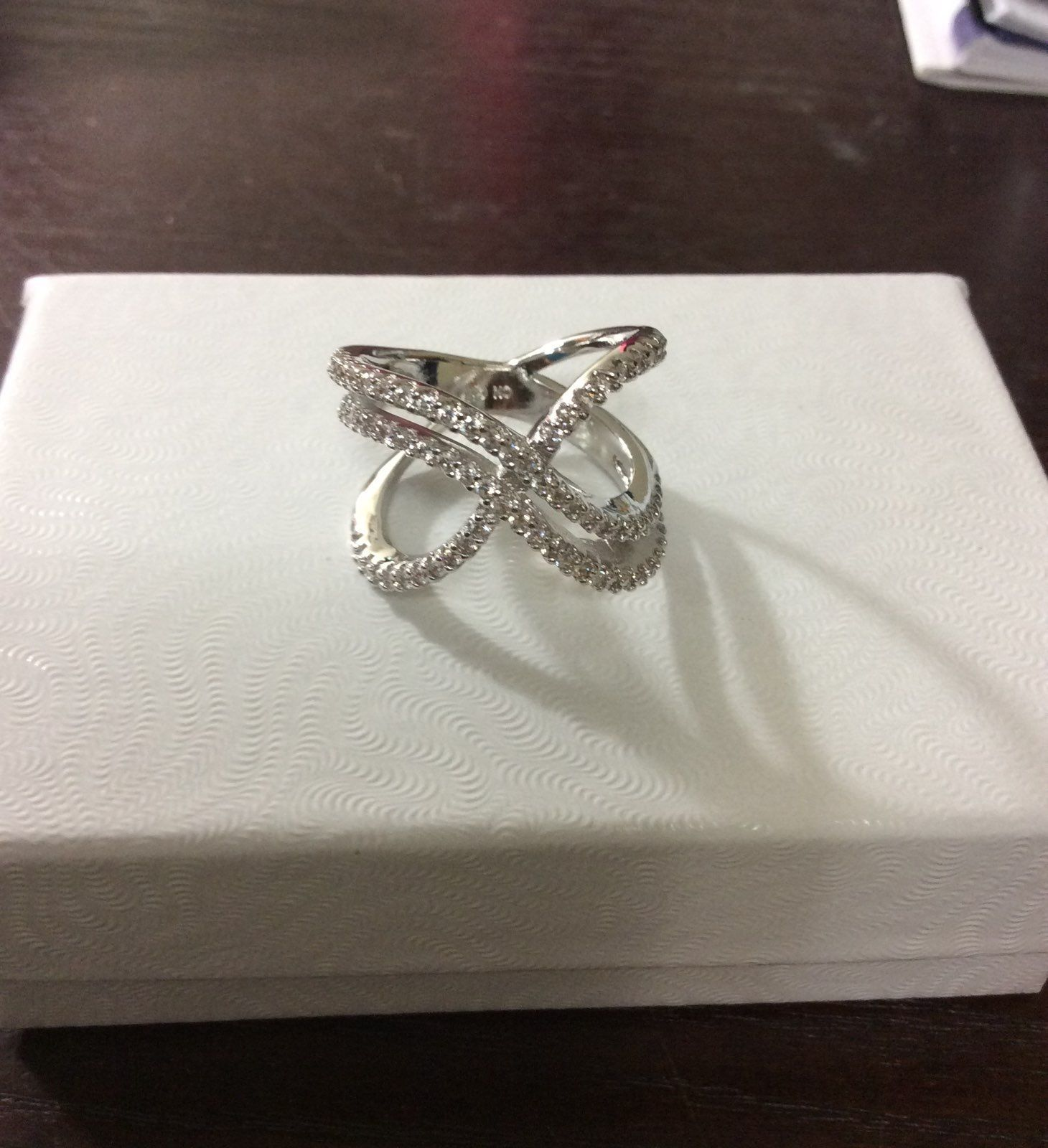 White Gold Double X Ring