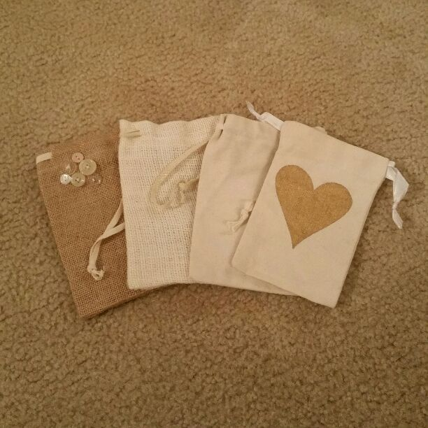 4 burlap/cotton bags, brown, tan/khaki
