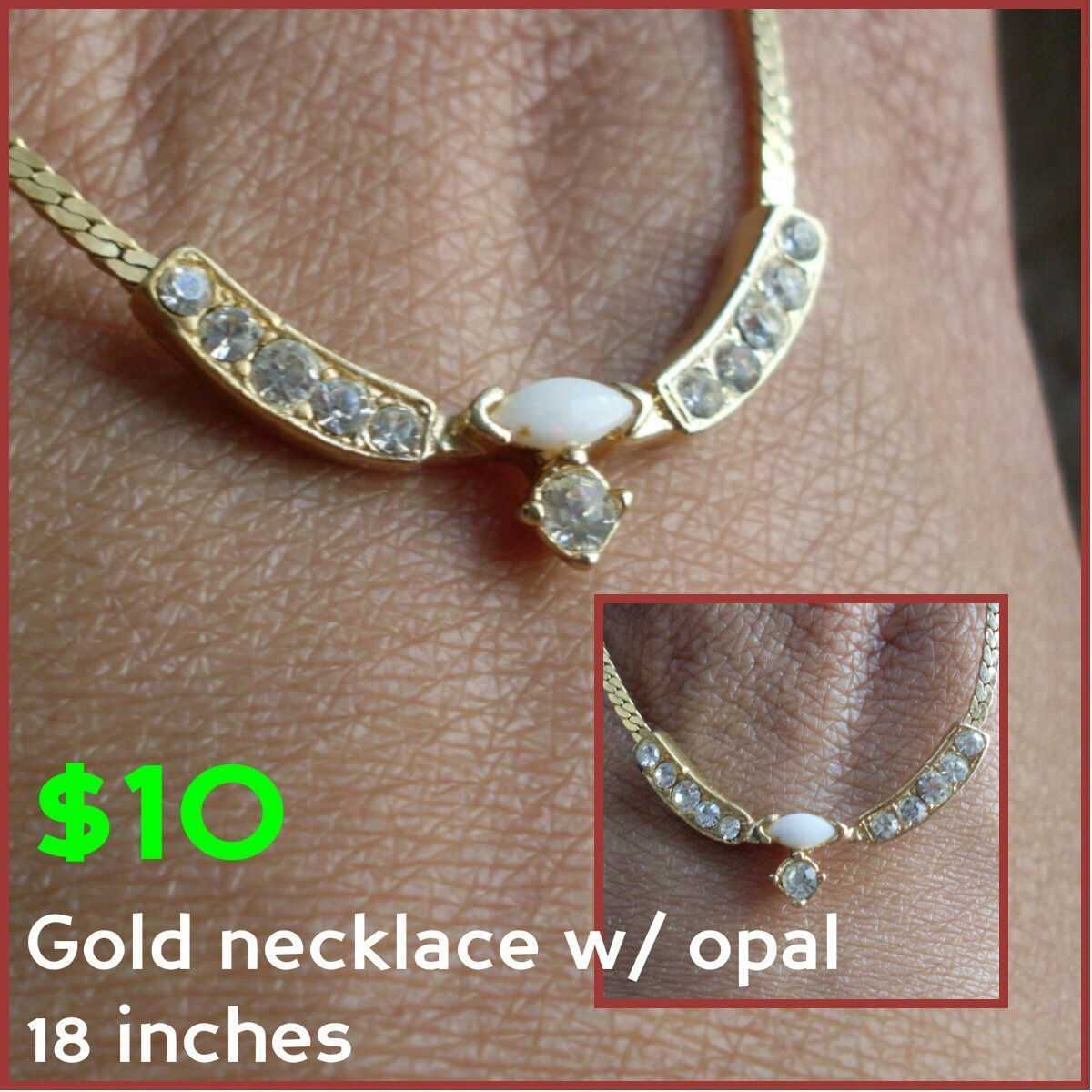 Gold necklace w/ opal October birthstone