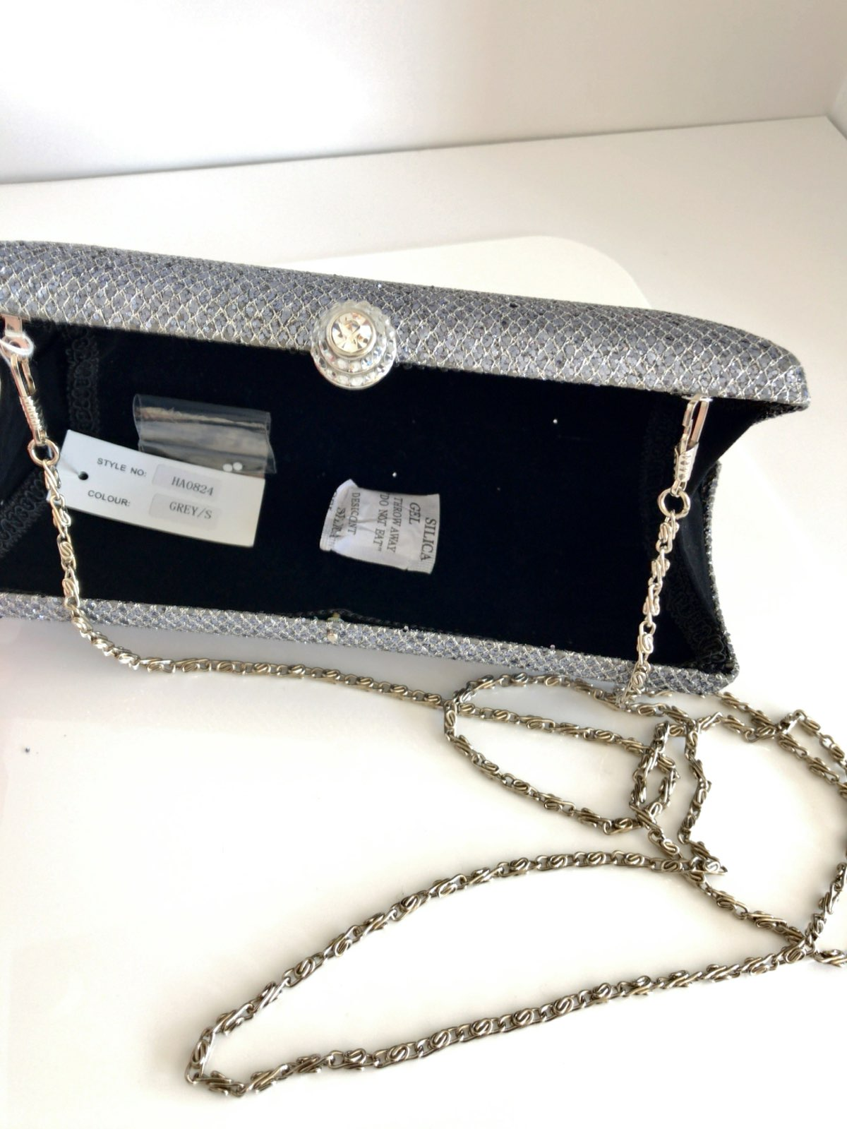 Metallic Silver Party Clutch