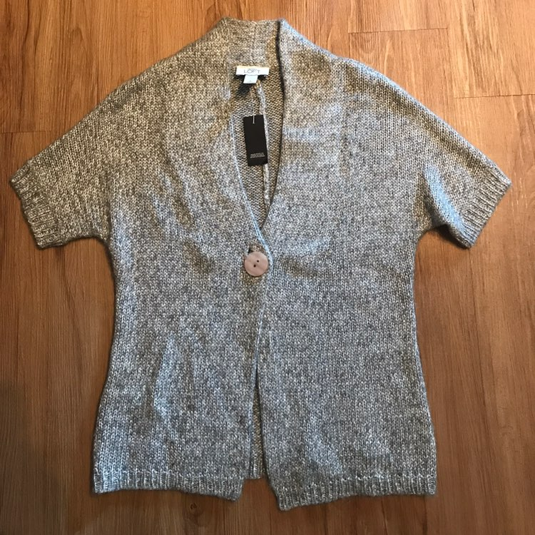 LOFT Silver Short Sleeve Sweater - Mercari: BUY & SELL THINGS YOU LOVE