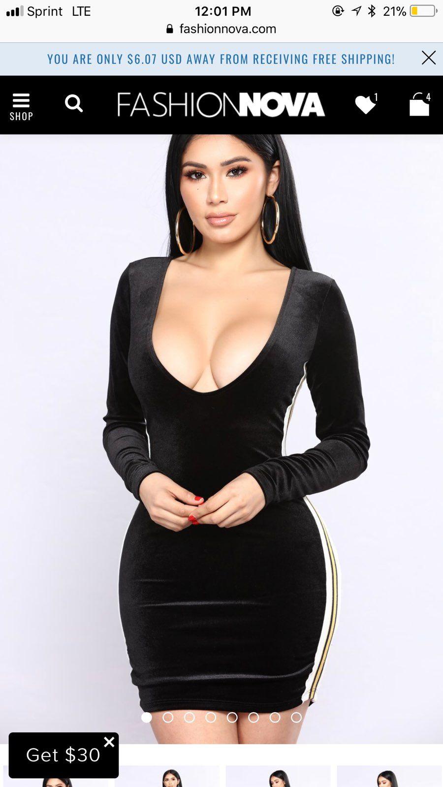 Fashion Black V Neck Dress .