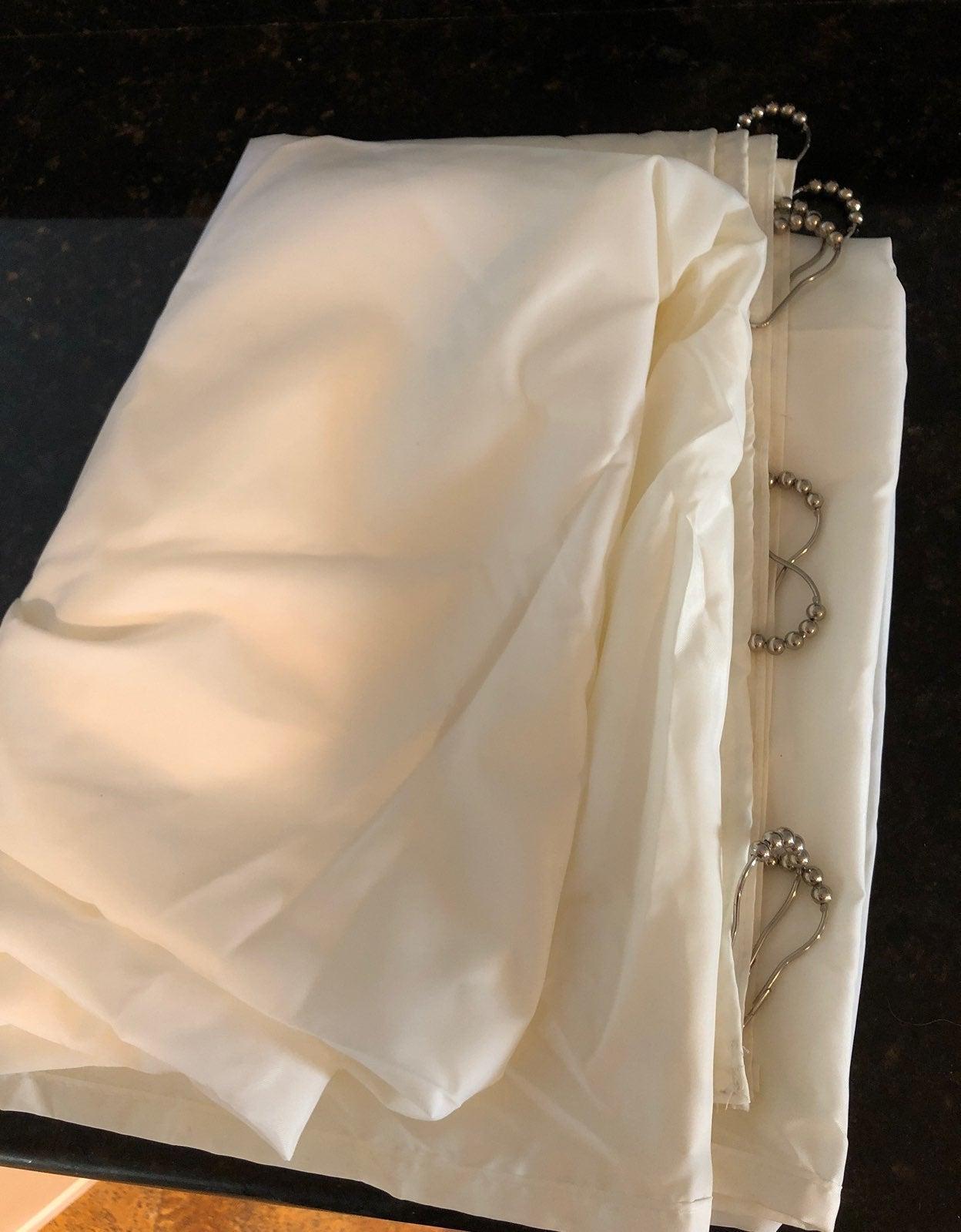 Cream Fabric Shower Curtain W/hangers