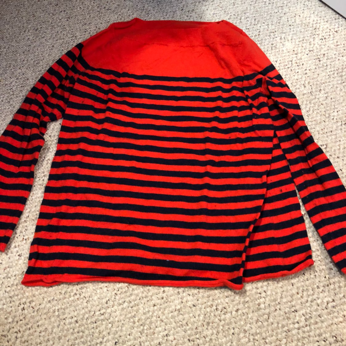 Orange & Navy Striped Sweater Boat Neck - Mercari: BUY & SELL ...