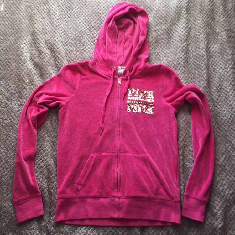 VS Pink Zip Up Sweater - Mercari: BUY & SELL THINGS YOU LOVE