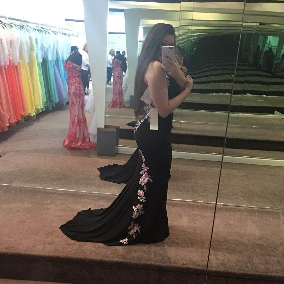 Black Embroidered Prom Dress