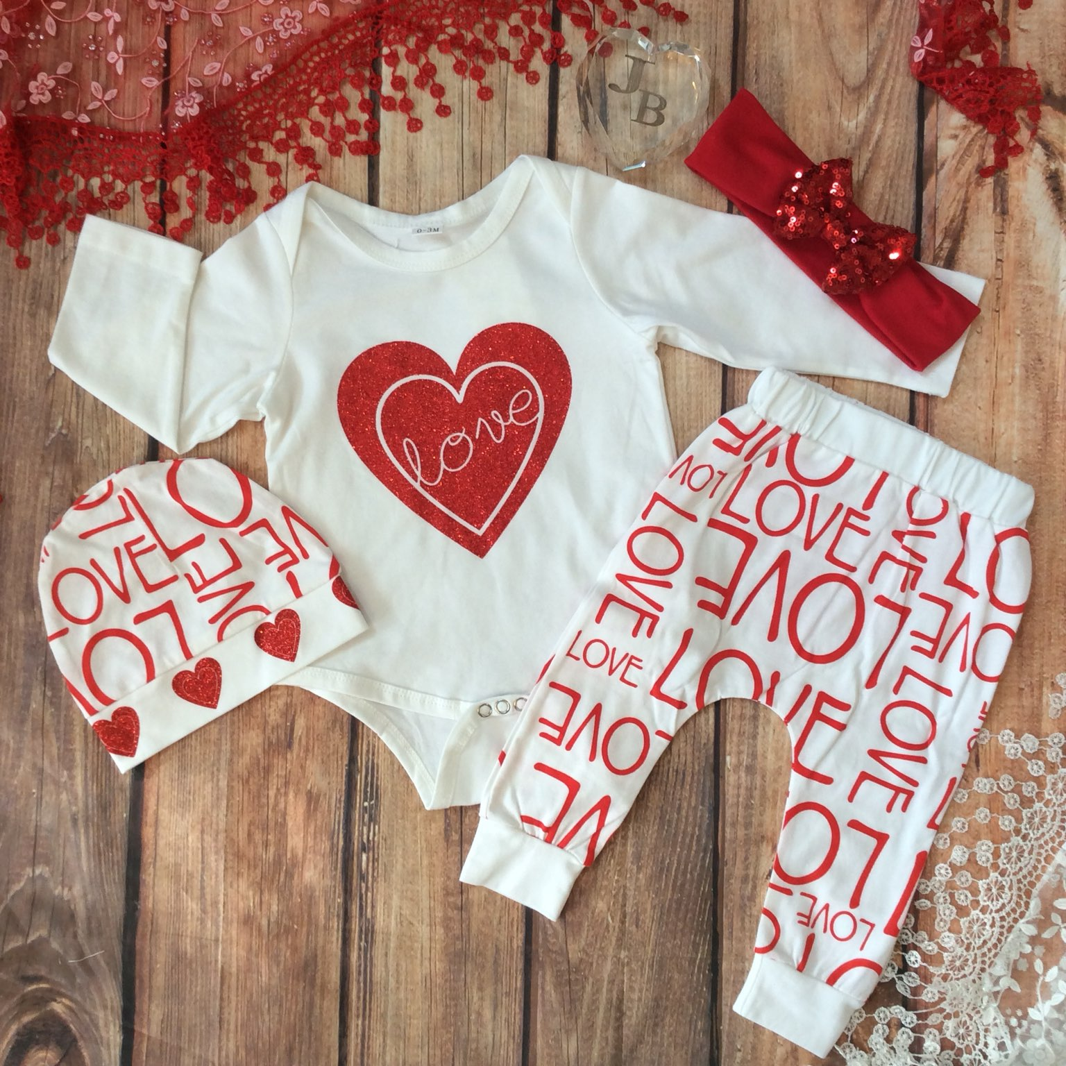 12 18 mos baby valentines day outfit 4pc - Infant Valentines Day Outfits