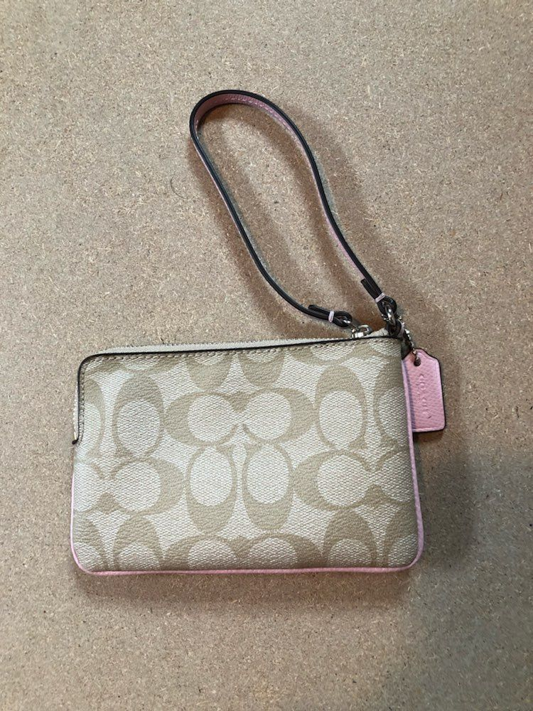 Tan And Pink Coach Wallet