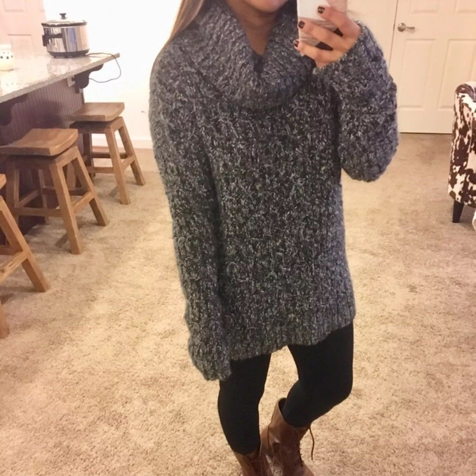 Cozy Cowl Neck Speckled Sweater - Mercari: BUY & SELL THINGS YOU LOVE