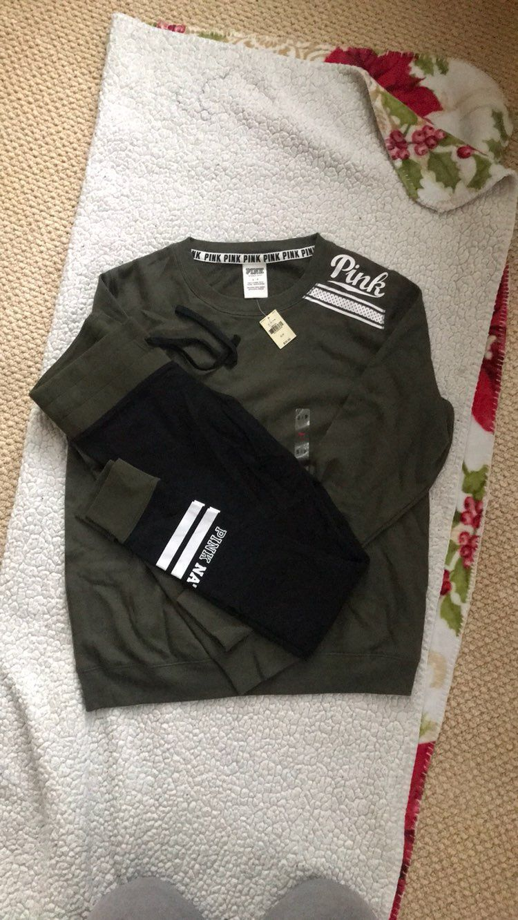 Olive Green VS PINK Crew Sweater - Mercari: BUY & SELL THINGS YOU LOVE