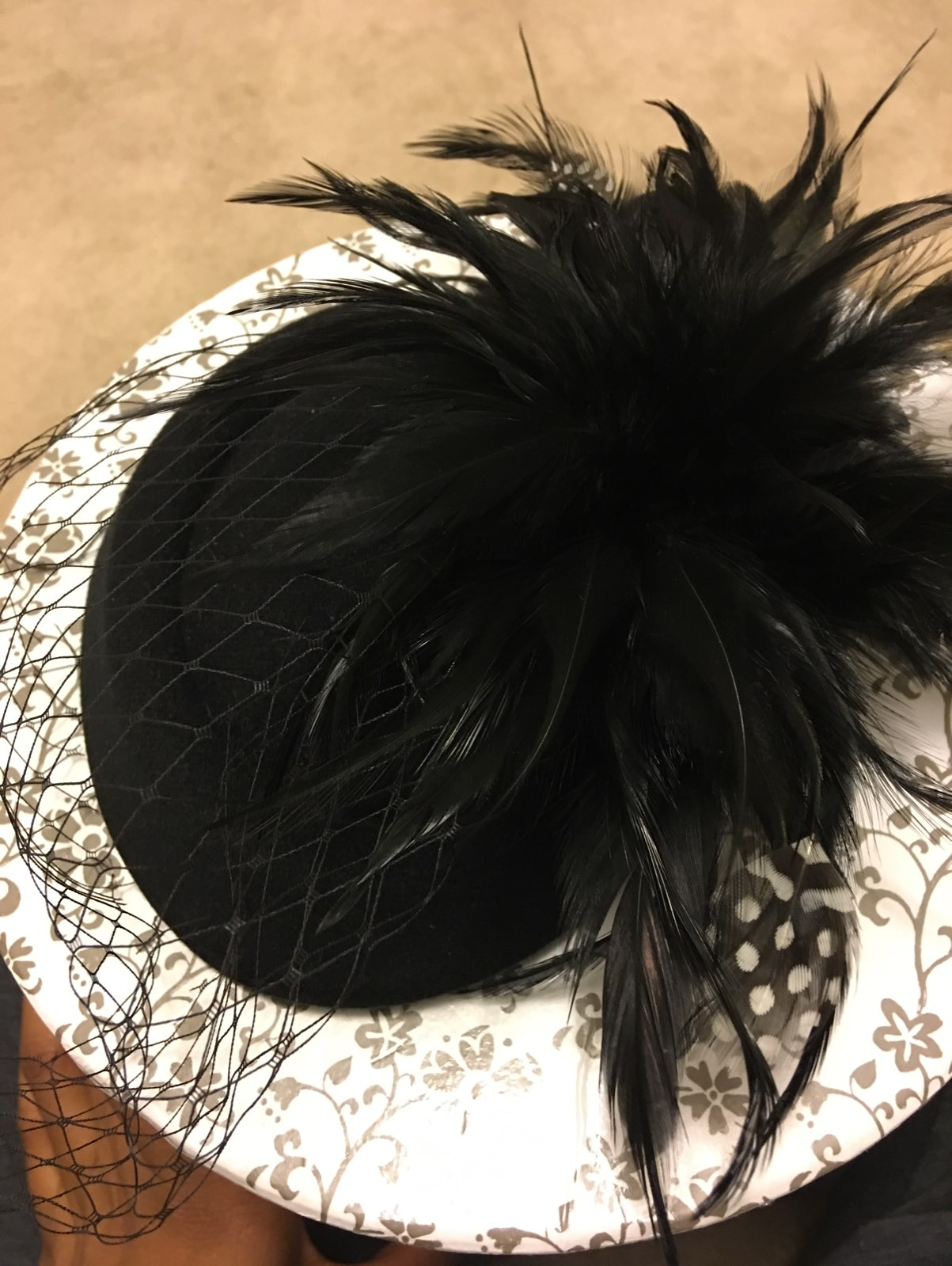 Black Fascinator Hat w/ Feathers & Tulle