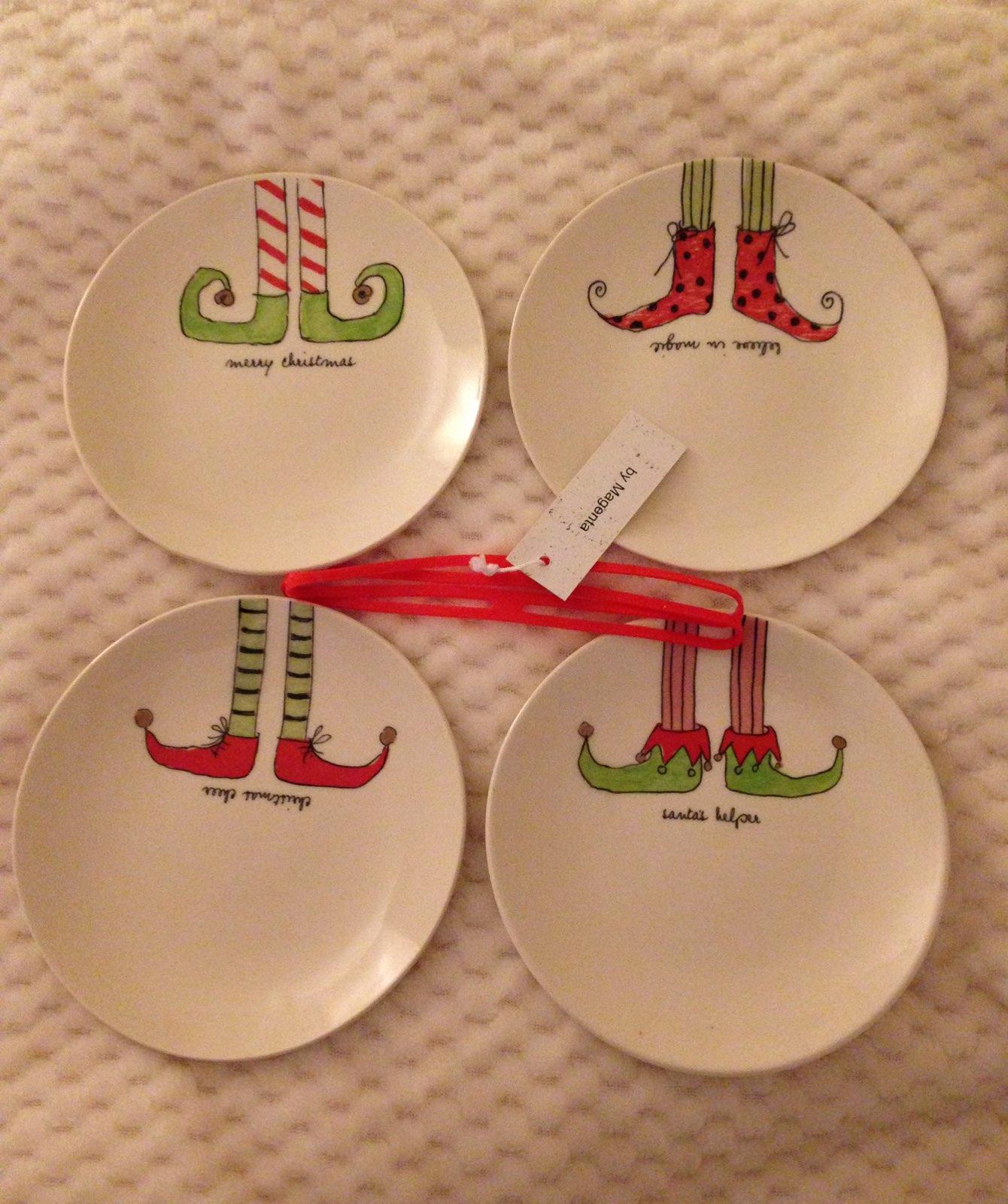 Rae Dunn Elf Legs Small Round Plates -4
