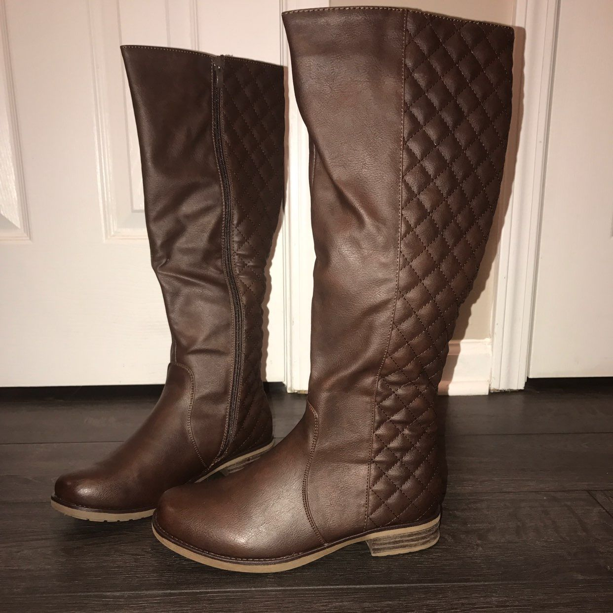 Chocolate Brown Quilted Riding Boots - Mercari: BUY & SELL THINGS ... : brown quilted riding boots - Adamdwight.com