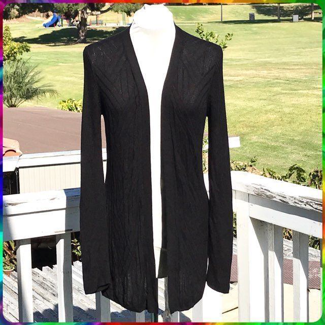 Ebony Black Open Front Long Cardigan XL - Mercari: BUY & SELL ...