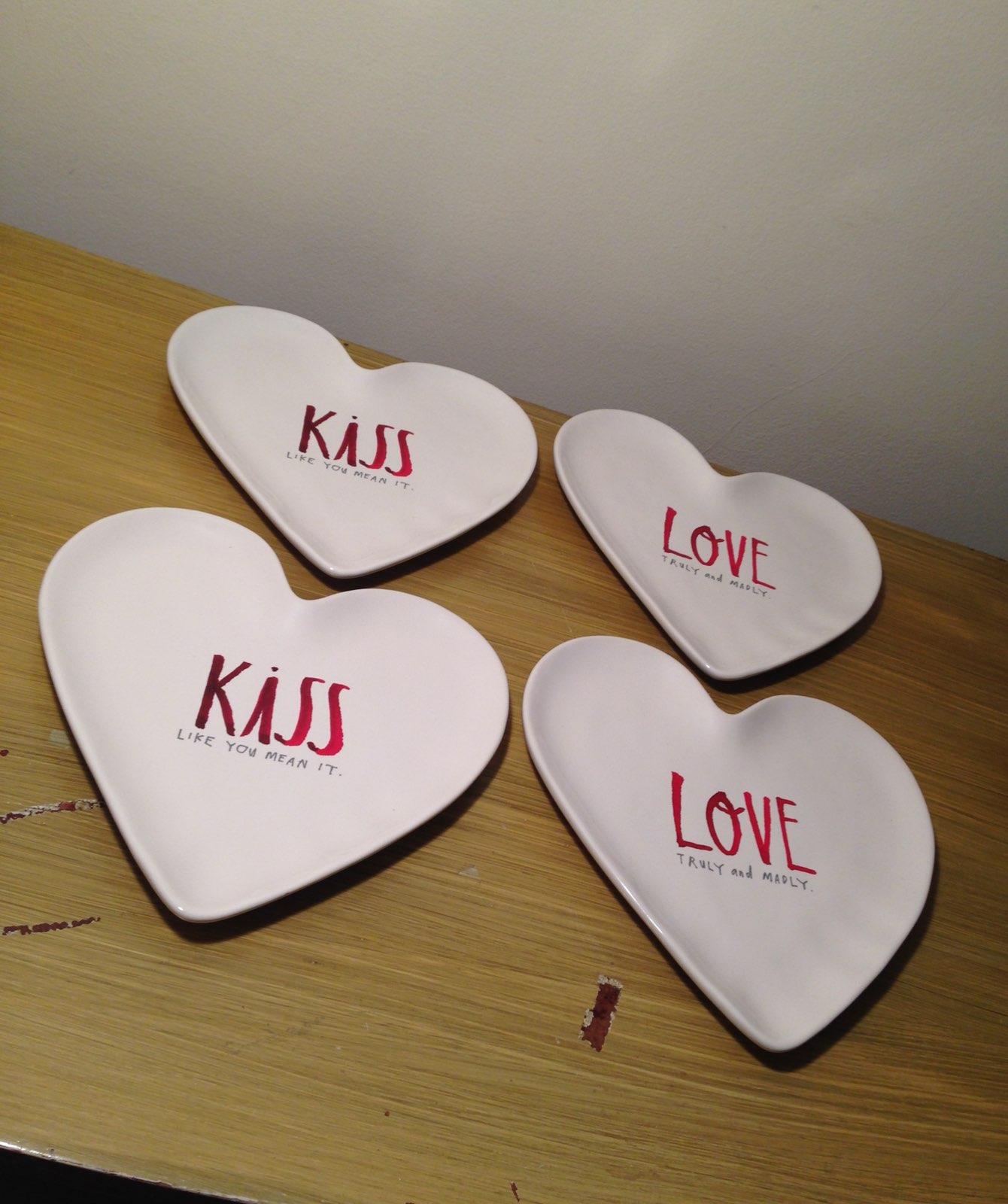 Rae Dunn Love Kiss Heart Shape Plates (4