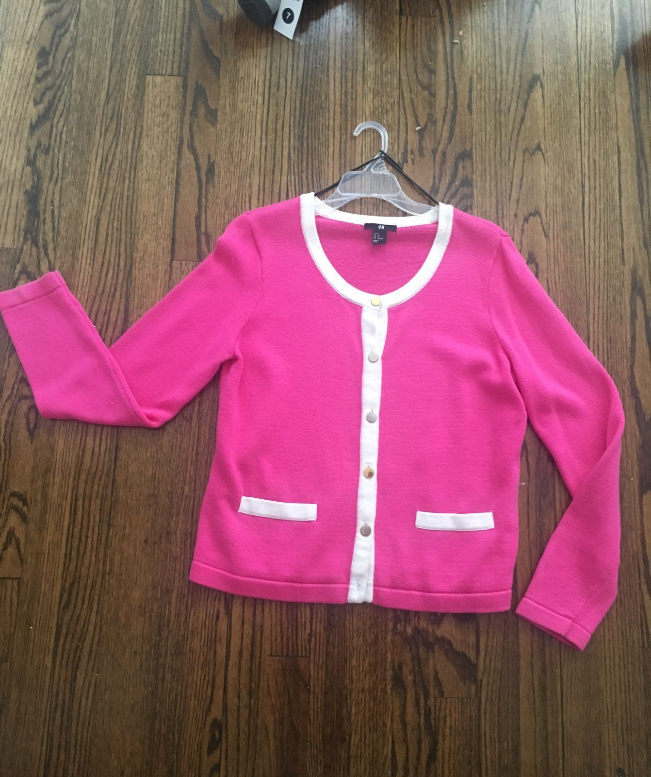 H&M Pink Button Up Sweater - Mercari: BUY & SELL THINGS YOU LOVE