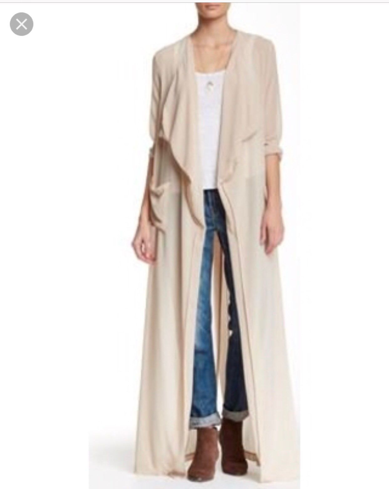 Beige/nude Sheer Cardigan/duster - Mercari: BUY & SELL THINGS YOU LOVE