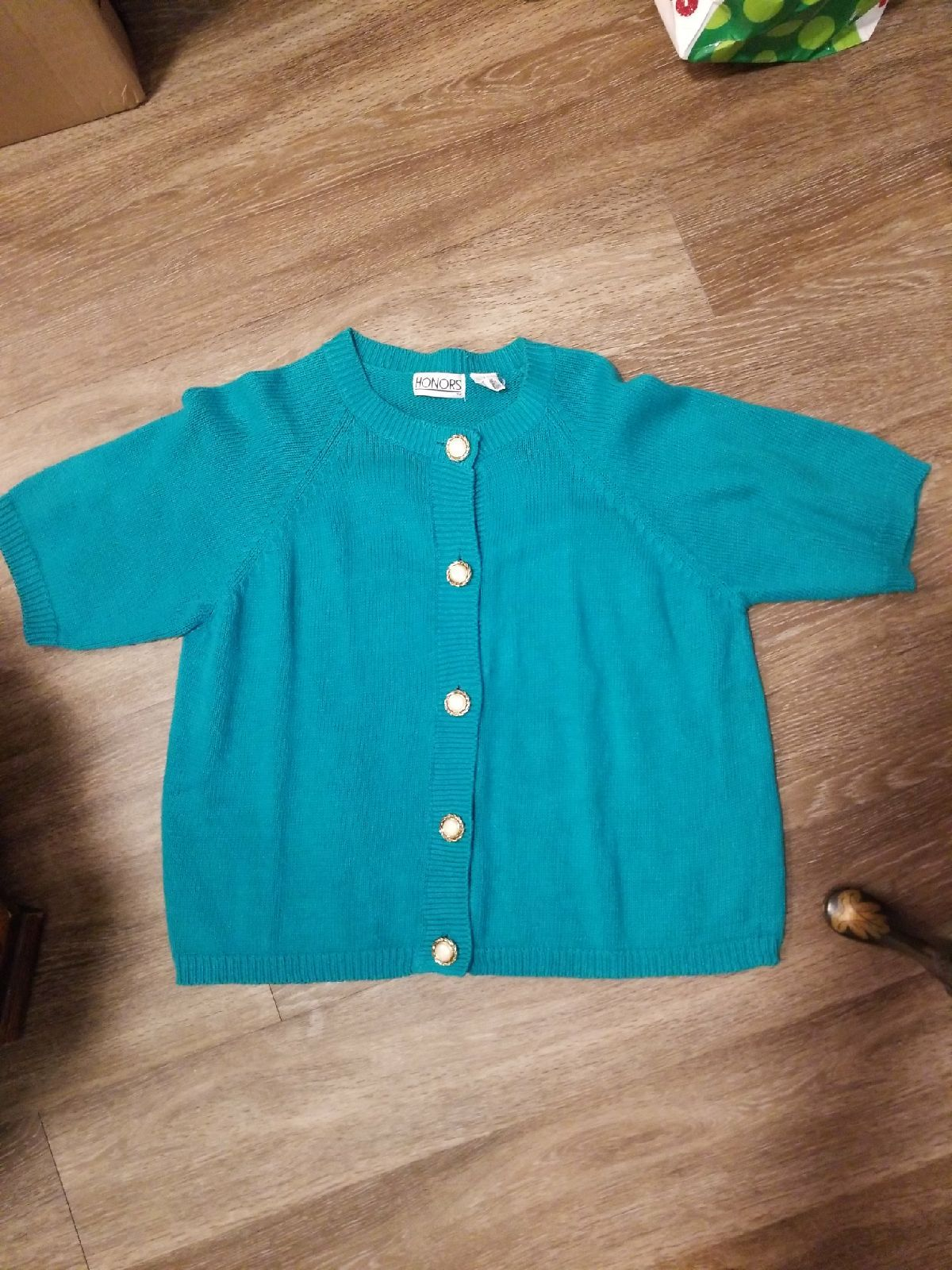 Vintage Turquoise Short Sleeve Sweater - Mercari: BUY & SELL ...