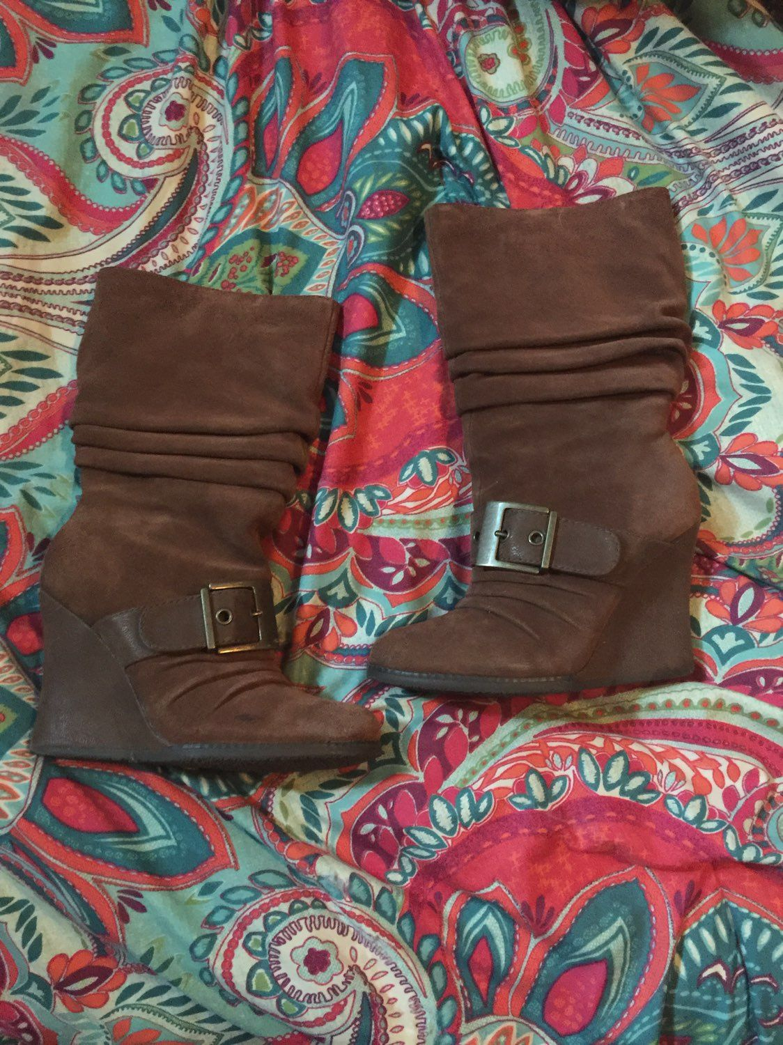Brown Suede Dr. Scholl's Wedge Boots 6.5