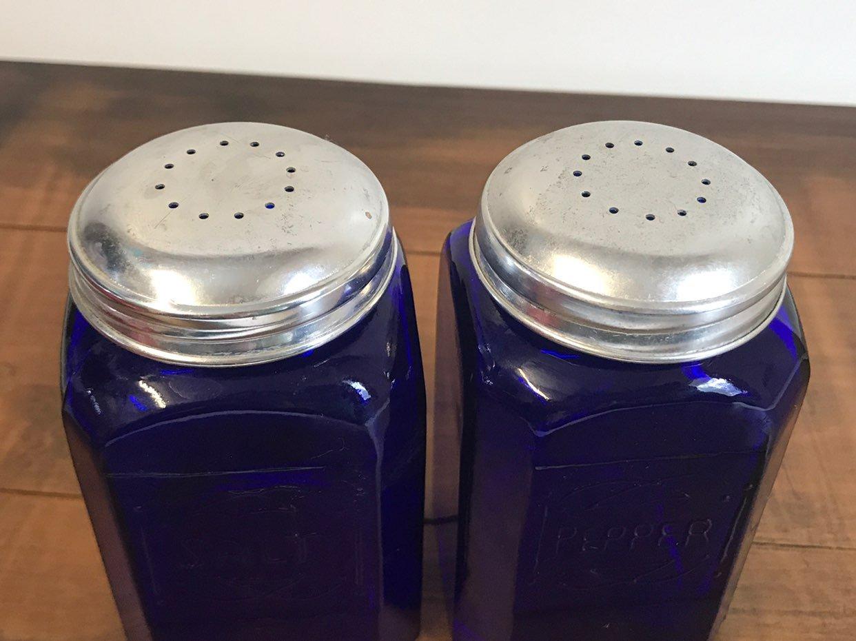Cobalt Blue Glass Salt Pepper Shakers