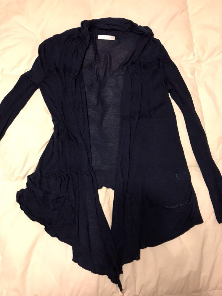 Navy Blue Cardigan And Stripped Sweater - Mercari: BUY & SELL ...