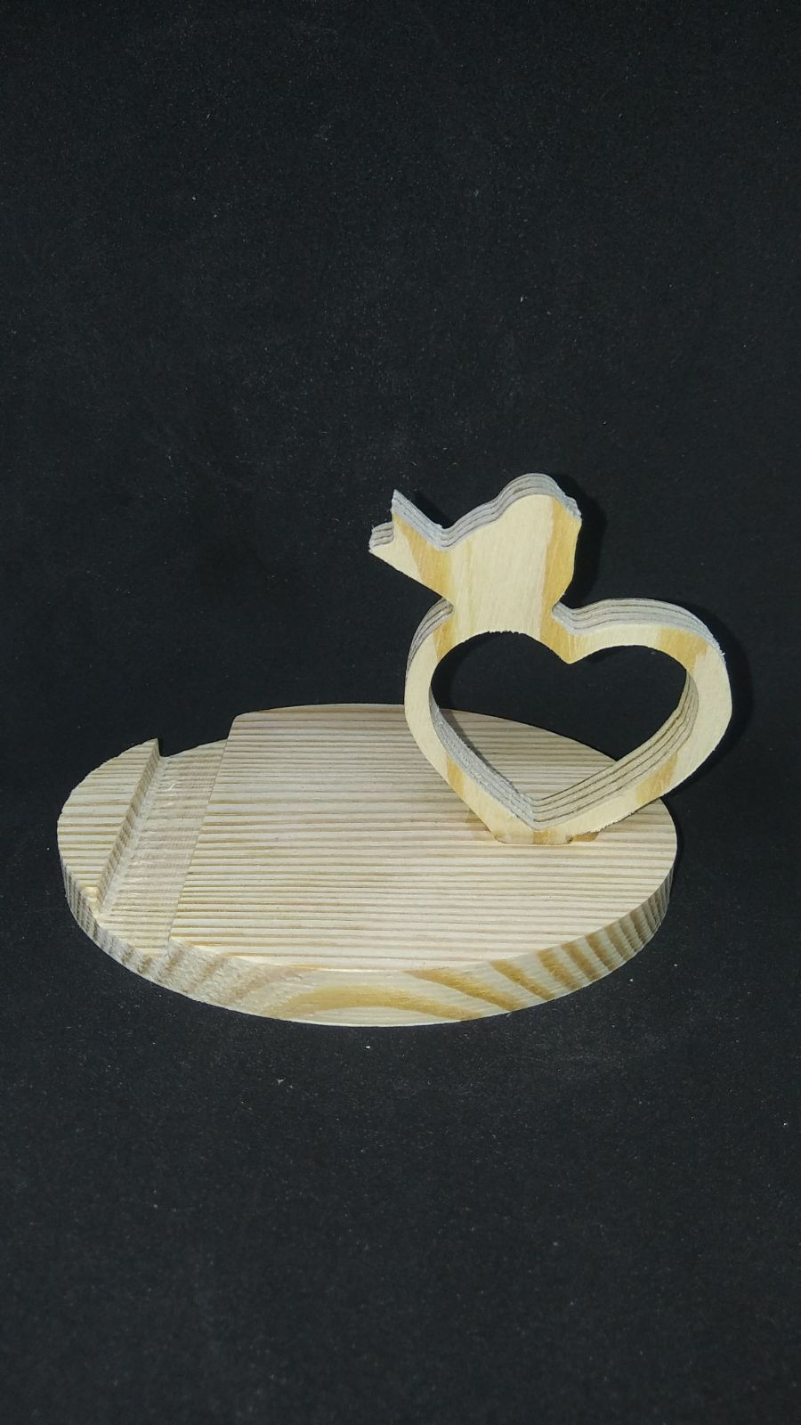 Wood Phone Stand - Heart and Bird
