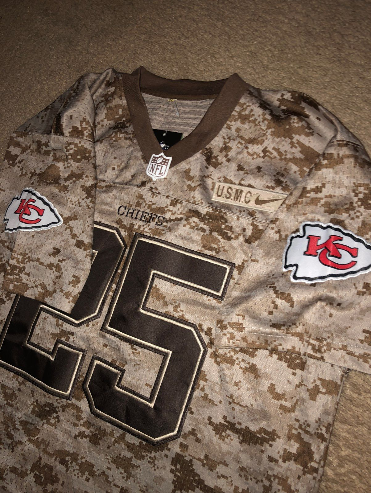 Jamaal Charles KC Chiefs Army Jersey