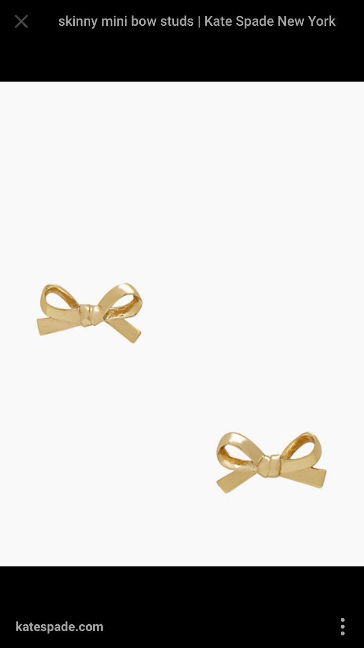 New Kate Spade Gold Bow Earrings Dainty
