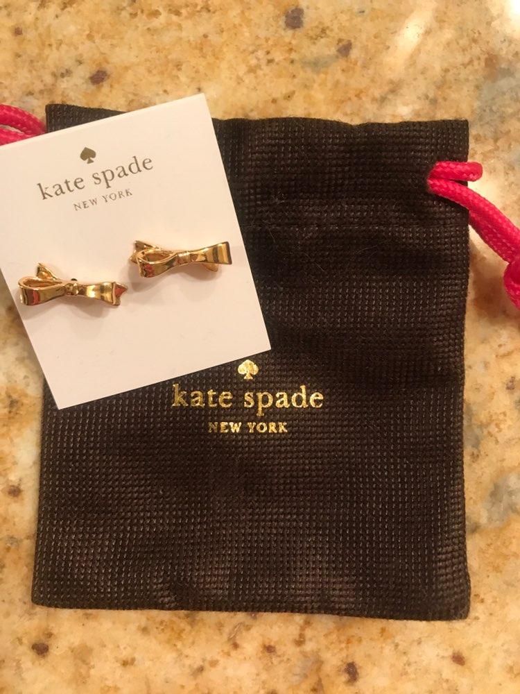 New Kate Spade Gold Bow Earrings Dainty